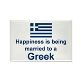 Happily Married To A Greek Rectangle Magnet