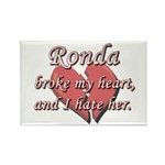 Ronda broke my heart and I hate her Rectangle Magn
