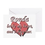 Ronda broke my heart and I hate her Greeting Cards