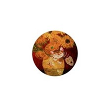 cat art sunflowers Van Gogh Mini Button
