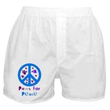 Paws for Peace Blue Boxer Shorts