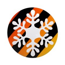 Yellow & Orange Striped Snowflake Ornament
