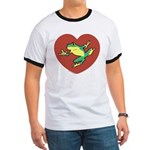 ASL Frog in Heart Ringer T