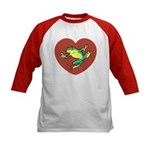ASL Frog in Heart Kids Baseball Jersey