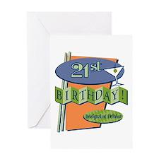 Retro 21st Bday Greeting Card