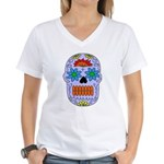 Sugar Skull Women's V-Neck T-Shirt