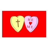 &quot;He Loves Me&quot; Red Rectangle Decal