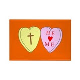 &quot;He Loves Me&quot; Orange Rectangle Magnet