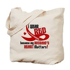 Red For My Husband Heart Disease Tote Bag