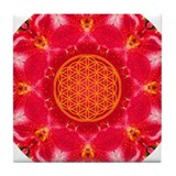 Root Flower Of Life Tile Coaster