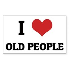 I Love Old People Rectangle Decal