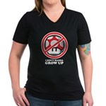 I Don't Wanna Grow Up Women's V-Neck Dark T-Shirt