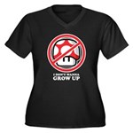 I Don't Wanna Grow Up Women's Plus Size V-Neck Dar
