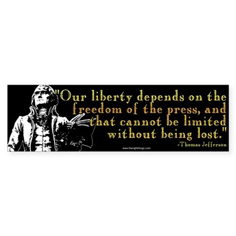Thomas Jefferson Free Press Q Sticker (Bumper 10 p