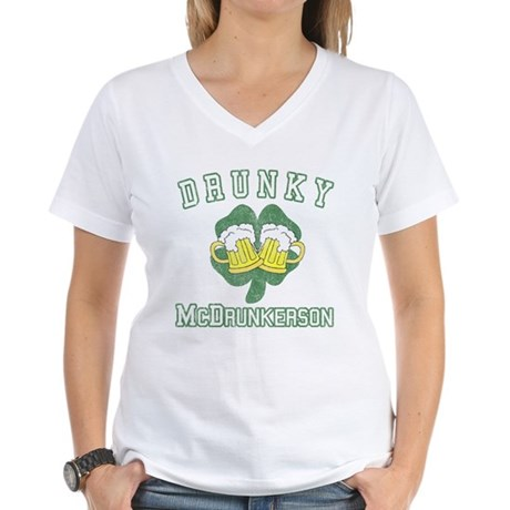Drunky McDrunkerson Womens V-Neck T-Shirt