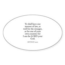 LEVITICUS 24:22 Oval Decal