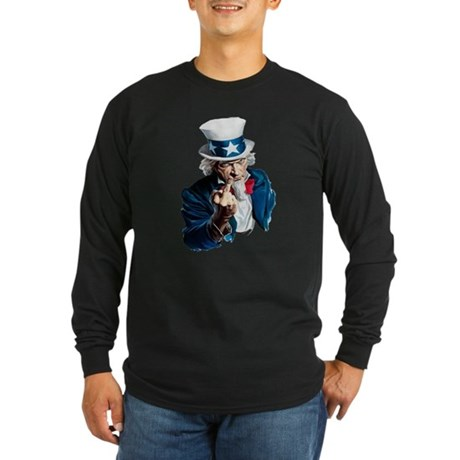 Uncle Sam Middle Finger Long Sleeve Dark T-Shirt