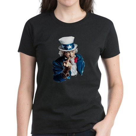 Uncle Sam Middle Finger Women's Dark T-Shirt