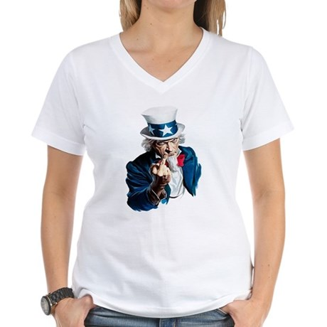 Uncle Sam Middle Finger Women's V-Neck T-Shirt