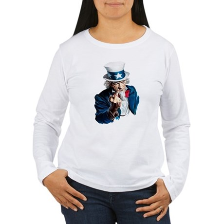 Uncle Sam Middle Finger Women's Long Sleeve T-Shir
