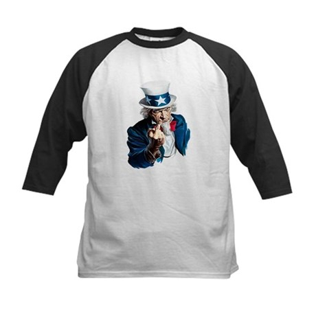 Uncle Sam Middle Finger Kids Baseball Jersey