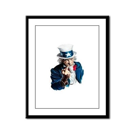 Uncle Sam Middle Finger Framed Panel Print