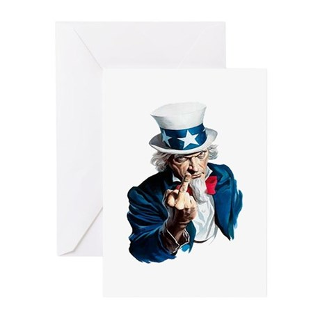 Uncle Sam Middle Finger Greeting Cards (Pk of 10)