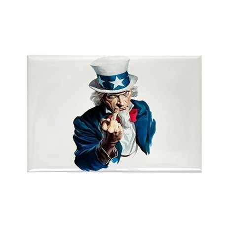 Uncle Sam Middle Finger Rectangle Magnet