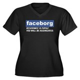 Faceborg Women's Plus Size V-Neck Dark T-Shirt