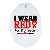 I Wear Red Sister Oval Ornament