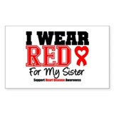 I Wear Red Sister Rectangle Decal
