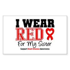 I Wear Red Sister Rectangle Sticker 10 pk)
