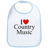 """I Love (Heart) Country Music"" Bib"