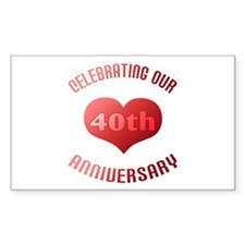 40th Anniversary Heart Gift Rectangle Decal