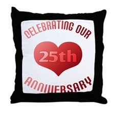 25th Anniversary Heart Gift Throw Pillow