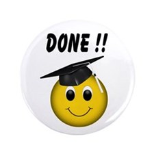 "GraduationSmiley Face 3.5"" Button"