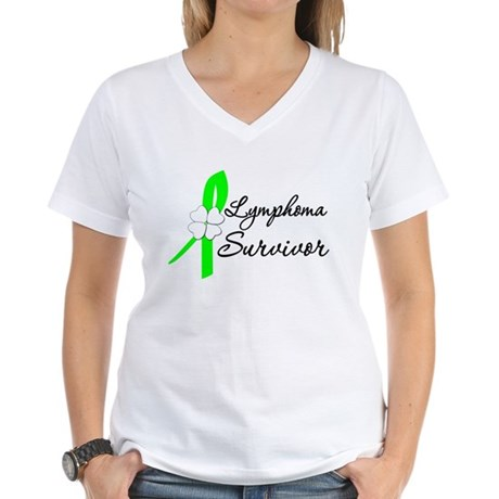 Lymphoma Survivor Women's V-Neck T-Shirt