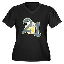 21st B-day Beer Women's Plus Size V-Neck Dark T-Sh