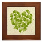 Ginkgo Leaf Heart Framed Tile