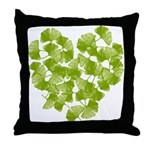 Ginkgo Leaf Heart Throw Pillow