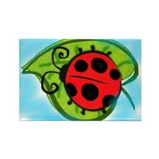 Ladybug on a leaf Rectangle Magnet