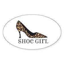shoe girl Oval Sticker