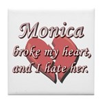 Monica broke my heart and I hate her Tile Coaster