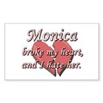 Monica broke my heart and I hate her Sticker (Rect