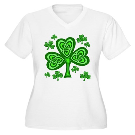 Celtic Shamrocks Women's Plus Size V-Neck T-Shirt