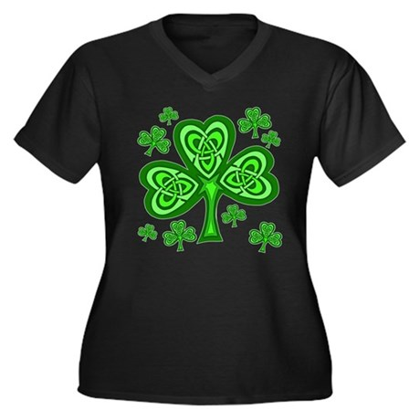 Celtic Shamrocks Women's Plus Size V-Neck Dark T-S