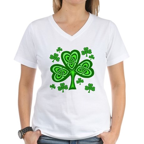 Celtic Shamrocks Women's V-Neck T-Shirt