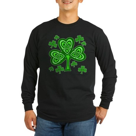 Celtic Shamrocks Long Sleeve Dark T-Shirt