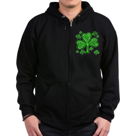 Celtic Shamrocks Zip Hoodie (dark)
