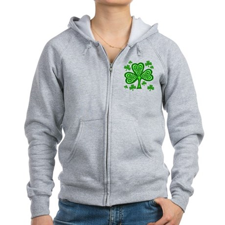 Celtic Shamrocks Women's Zip Hoodie
